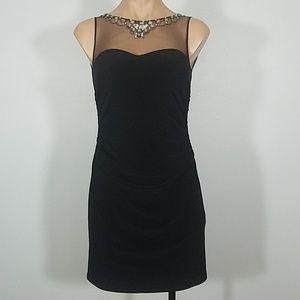 Hailey Logan Black Fitted Mini Dress w/ Mesh Top